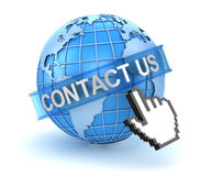 Contact us concept with world and hand cursor Stock Images