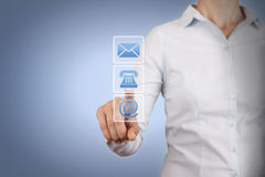 Contact Us Conceptual on Touch Screen Royalty Free Stock Photos