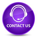 Contact us (customer care icon) elegant purple round button Royalty Free Stock Images