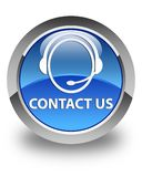 Contact us (customer care icon) glossy blue round button Royalty Free Stock Image