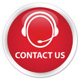 Contact us (customer care icon) premium red round button Royalty Free Stock Image