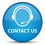 Contact us (customer care icon) special cyan blue round button Royalty Free Stock Images
