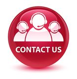 Contact us (customer care team icon) glassy pink round button Stock Image