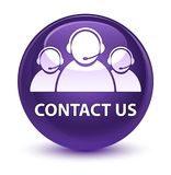 Contact us (customer care team icon) glassy purple round button Stock Photography