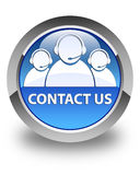 Contact us (customer care team icon) glossy blue round button Royalty Free Stock Photography