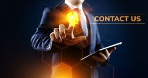 Contact us customer communication concept. Businessman pressing button on screen. stock illustration