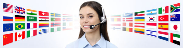 Contact us, customer service operator woman with headset smiling Stock Images