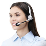 Contact us, customer service operator woman with headset smiling Royalty Free Stock Photography
