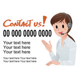 Contact us! Customer service woman in headset. Vector illustration of Customer service woman providing contact information in headset, with sample text. isolated Royalty Free Stock Photography