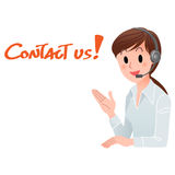 Contact us! Customer service woman smiling Stock Photography