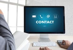 CONTACT US (Customer Support Hotline people CONNECT ) Call Custo Royalty Free Stock Images