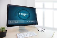 CONTACT US (Customer Support Hotline people CONNECT ) Call Custo Stock Photos