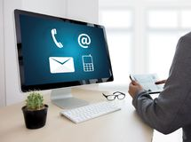 CONTACT US (Customer Support Hotline people CONNECT ) Call Custo Royalty Free Stock Photography