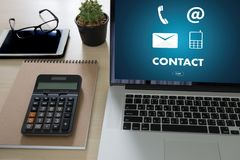 CONTACT US (Customer Support Hotline people CONNECT ) Call Custo Stock Photography