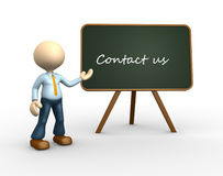 Contact us. 3d people - man, person with a blackboard. Contact us Stock Photos