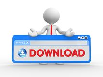 3d man with downloading icon , with browser window and text, word download stock illustration