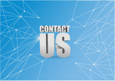 Contact us 3d sign over a blue abstract tech. Background Stock Image