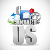 Contact us 3d text concept illustration design Stock Image