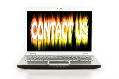 Contact Us Displayed On A Notebook Computer Screen Stock Photos