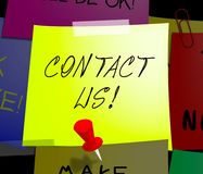 Contact Us Displays Customer Service 3d Illustration. Contact Us Note Displays Customer Service 3d Illustration Stock Photo
