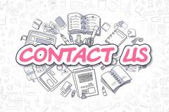 Contact Us - Doodle Magenta Text. Business Concept. Stock Photos