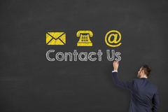 Contact Us Drawing on Blackboard Background Royalty Free Stock Image