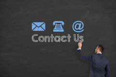 Contact Us Drawing on Blackboard Royalty Free Stock Image
