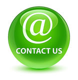 Contact us (email address icon) glassy green round button Stock Photos