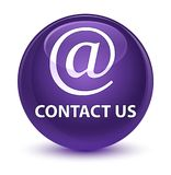Contact us (email address icon) glassy purple round button Stock Images