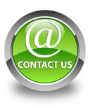 Contact us (email address icon) glossy green round button Stock Photo