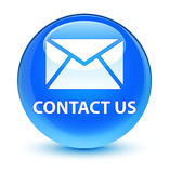 Contact us (email icon) glassy cyan blue round button Stock Image