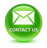 Contact us (email icon) glassy green round button Royalty Free Stock Photography