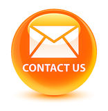 Contact us (email icon) glassy orange round button Stock Photo
