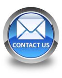 Contact us (email icon) glossy blue round button Stock Images