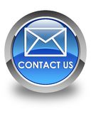 Contact us (email icon) glossy blue round button Stock Photos