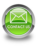 Contact us (email icon) glossy green round button Royalty Free Stock Photography