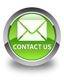 Contact us (email icon) glossy green round button Royalty Free Stock Images