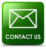 Contact us (email icon) green square button Stock Photos