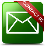 Contact us email icon green square button. Reflecting shadow with red ribbon in corner Royalty Free Stock Image