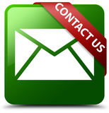 Contact us email icon green square button. Reflecting shadow with red ribbon in corner Royalty Free Stock Photo
