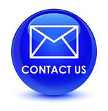 Contact us (email icon) glassy blue round button Royalty Free Stock Image