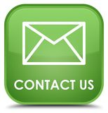 Contact us (email icon) special soft green square button. Contact us (email icon) isolated on special soft green square button abstract illustration vector illustration