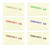 Contact us envelope - cdr format. Set of envelopes with letter stamps on them forming words contact us Stock Photography