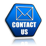 Contact us envelope symbol in hexagon button. Contact us envelope symbol, 3d blue hexagon button with text, business concept Stock Images