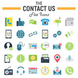 Contact us flat icon set, web button signs Stock Photos