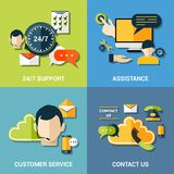 Contact us flat icons composition Stock Image