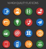 Contact us 16 flat icons. Contact us vector icons for web and user interface design royalty free illustration