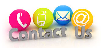 Contact Us - Four colorful contacting  symbols Stock Photo