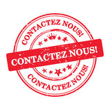 Contact us! French language Contactez nous business stamp Stock Image