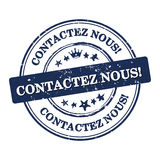 Contact us! French language Contactez nous business stamp Royalty Free Stock Photo